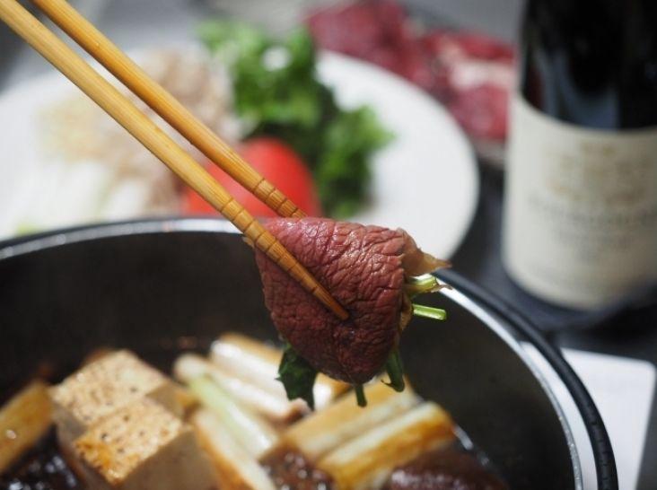 【エゾシカ】エゾシカのすき焼き、赤ワイン風味