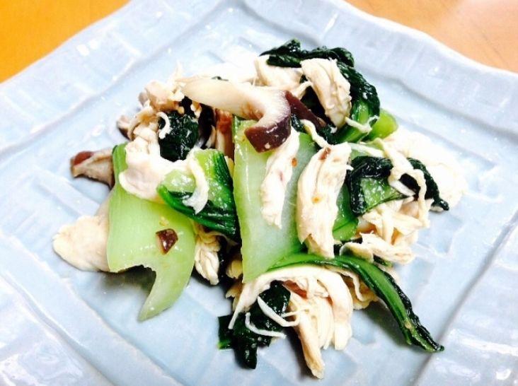 鶏ささ身とエリンギと青梗菜の中華和え