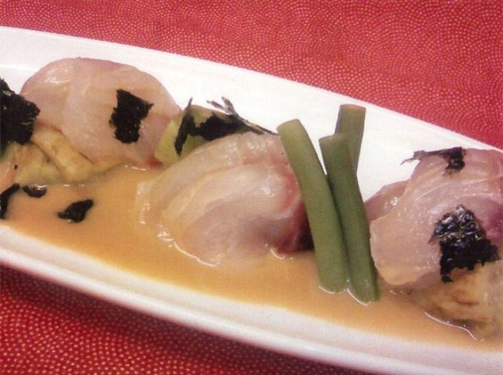 鶏魚と焼茄子の黄味辛子ポン酢
