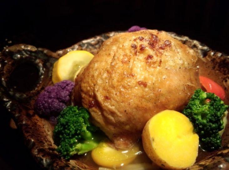 鶏肉のきの子ご飯包み焼きポトフ仕立て