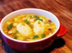 柚子こしょうとホタテのクネル 野菜スープ仕立て