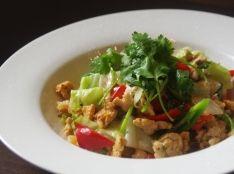 鶏挽肉と野菜のエスニックパクチー炒め