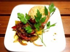 焼きトマトのチーズリゾット 夏野菜のマリネと共に