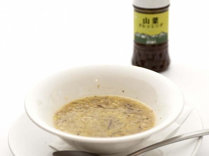 ポロ葱スープと山菜ドレッシング