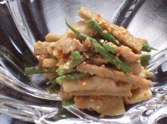 豚バラ肉とインゲン豆とごぼうのゴマ酢あえ