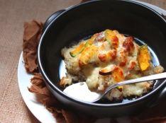 丸鶏がらスープで作る、秋野菜の焼きリゾット