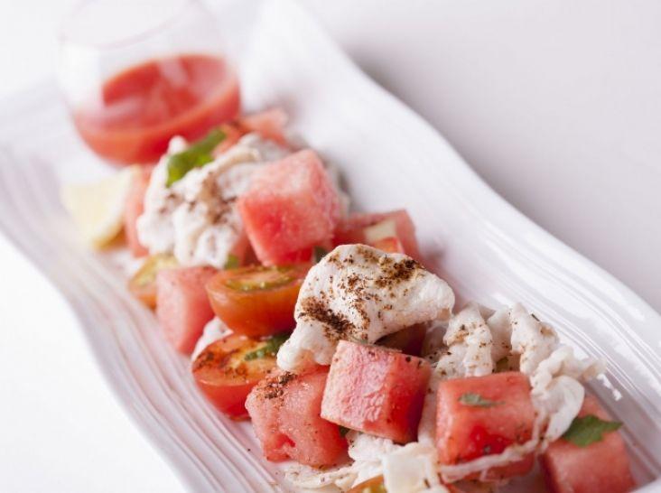 高崎産ハーブ豚未来とスイカ、トマトの夏しゃぶサラダ