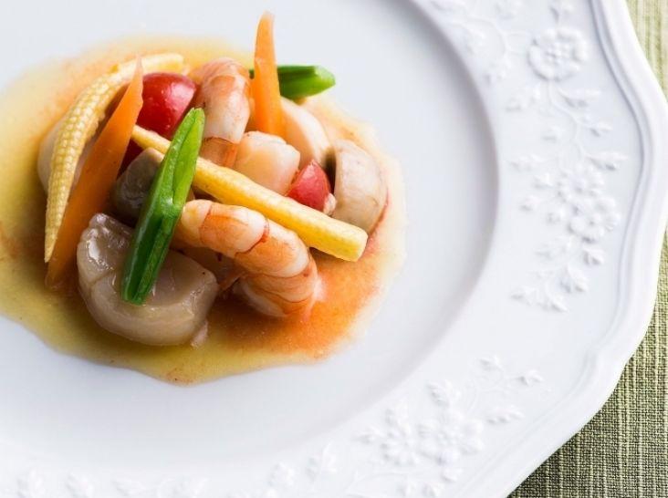 小海老、帆立と野菜のギリシャ風 蜂蜜のヴィネグレット