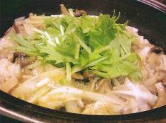 水菜ときのこの焼き土鍋御飯