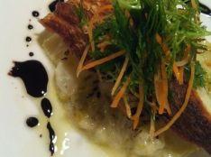 真鯛のポワレ 白菜のクリームグラタン添え バルサミコグレーズ