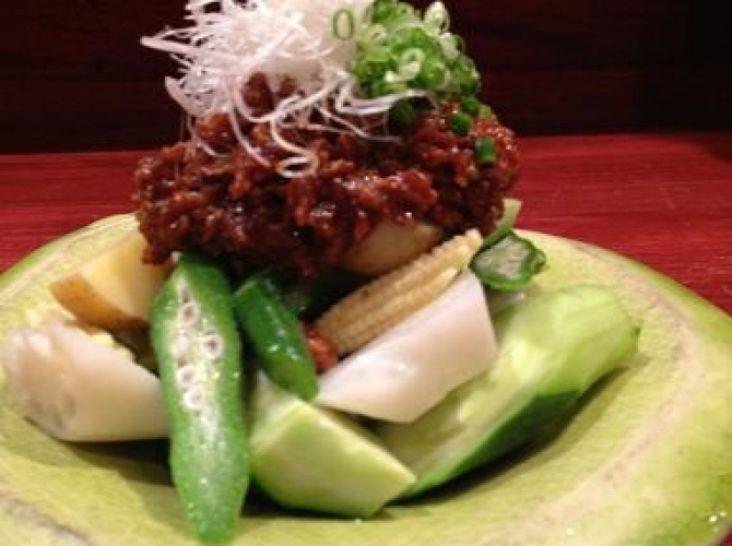 夏野菜の肉味噌サラダ