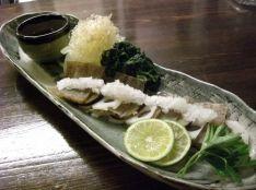 ガーリック酢味噌で食べる、自家製凍み蒟蒻の刺身