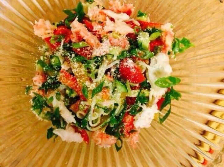 島原手延そうめんの蟹とトマトバジル風味カッペリー二仕立て