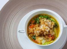 季節野菜のミネストローネ 玄米のお焦げを浮かべて
