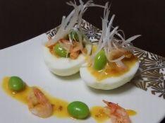 半熟卵と釜揚げ桜えびのゴママヨネーズサラダ