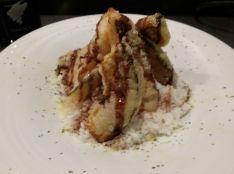 鯛とカボチャのフリットバルサミコソースかけ丼