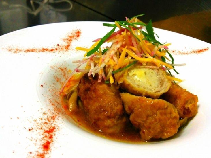 豚肉と魚のミルロール カレーポン酢風味