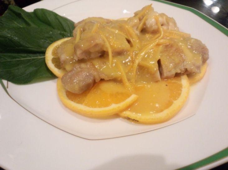 鶏肉のオレンジソース煮