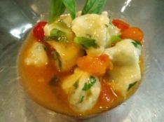 クリームチーズと大葉のスパッゼル トマトとバジルのソース