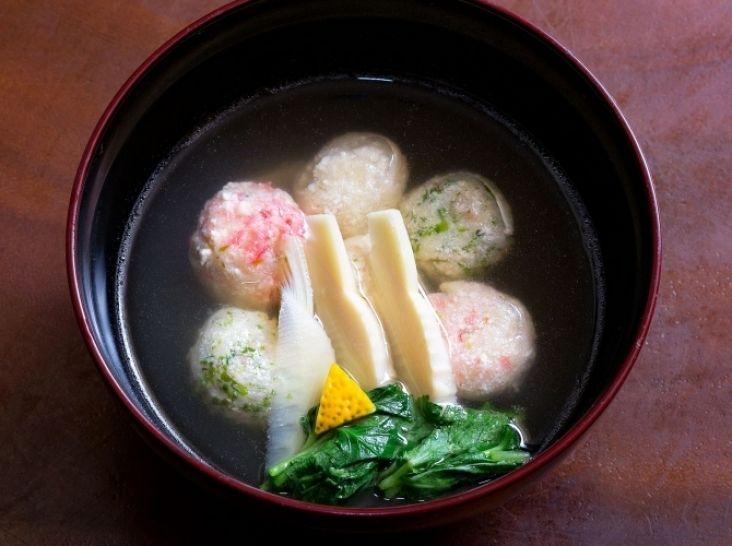 豆腐の3色てまり汁