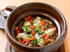 舞茸と牡蠣のおこわ