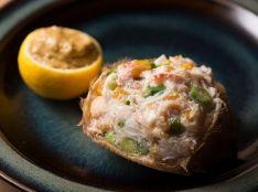 毛蟹とお浸しの甲羅づめ 柚子味噌と