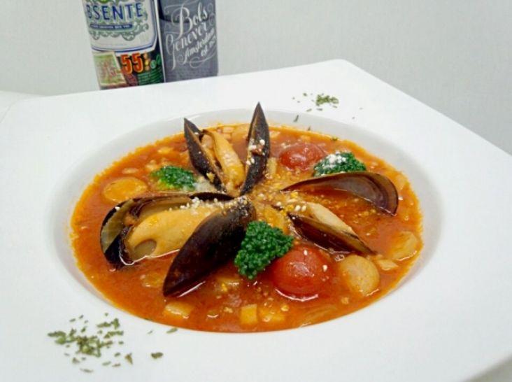 ム一ル貝と野菜のミネストローネ風スープリゾット