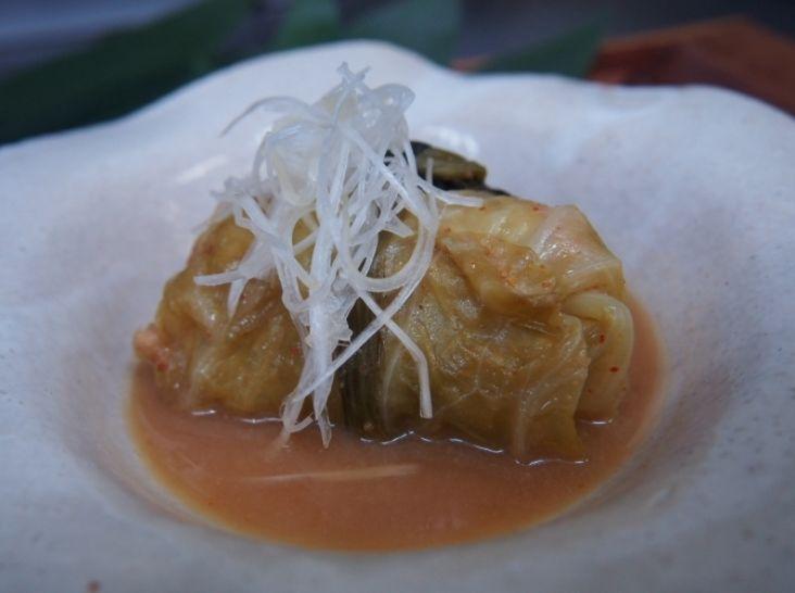 五島手延べうどんを使ったロールキャベツ辛味噌煮