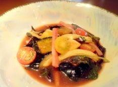 明日葉と夏野菜の香味甘酢ソース