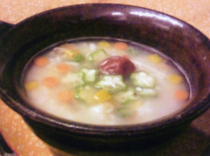 オクラと南瓜の梅粥
