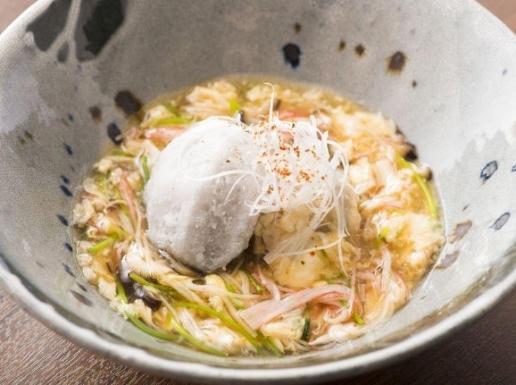 里芋のから揚げ カニカマとかき玉のあんかけ