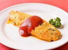 野沢菜と鶏肉のオムレツ