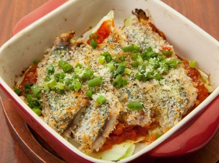 秋刀魚の香草パン粉焼き