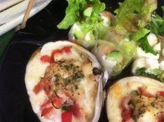 ホッキ貝とハロウミチーズのちょっとグラタン