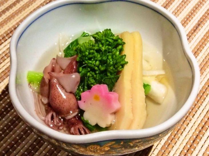 春野菜とホタルイカの煮びたし