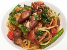 ホタルイカと菜の花のトマトソース スパゲッティ