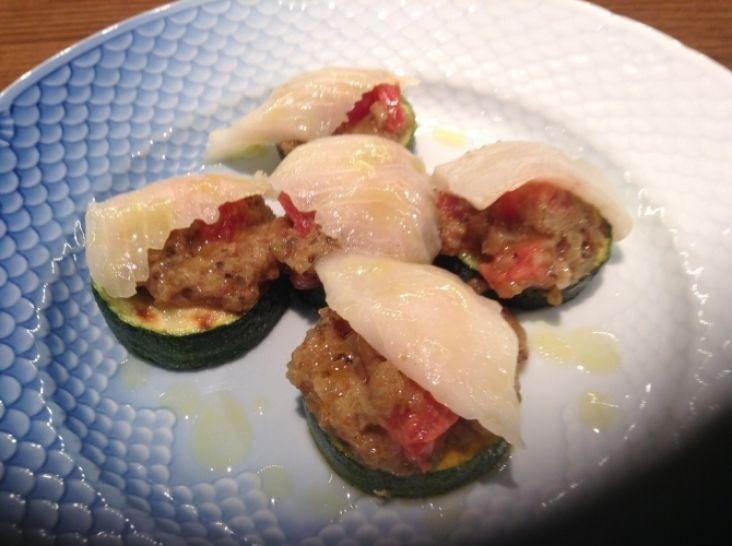 魚介のカルパッチョとズッキーニの甘酢漬け  アンチョビ風味