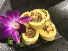 挽き肉と胡瓜の卵巻き