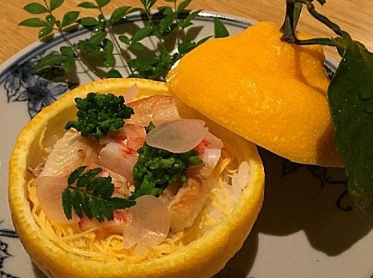 春の彩り、三宝柑を使った京風ちらし寿司